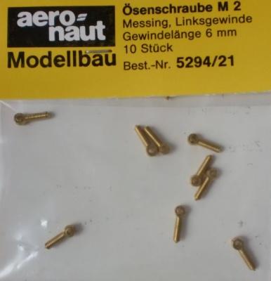 Ösenschrauben, Messing, Gewinde M 2 mm, 10 Stück