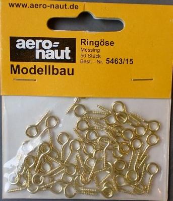 Ringösen, messing, 15 mm,  50 Stück
