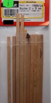 BUCHEN-Vierkantleisten  2 x 5 mm, 1 m lang, 10 Stück