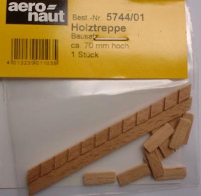 Holztreppen-Bausatz, 70 mm hoch, 14 mm breit, 11 Stufen