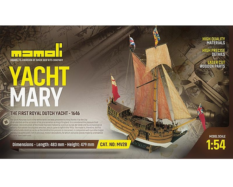 Yacht Mary Bausatz 1:54 , Mamoli, Länge 48,30 cm