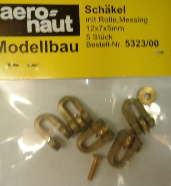 Schäkel MS (Metall) mit Rolle, 5 Stück, 12 x 7 x 5 mm