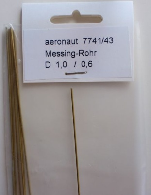 1 x Messing-ROHR 1,0/0,6mm, 1 m lang