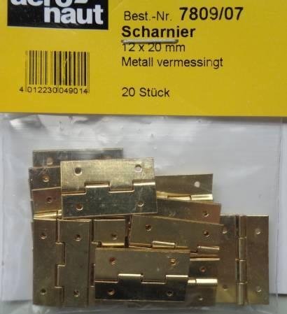 SCHARNIERE, Metall, vermessingt,  12 x 20 mm, 20 Stück