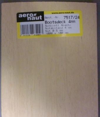 1 Stück Nutbrett (f. Bootsdeck) 10x100 cm, Nutabstand 4 mm
