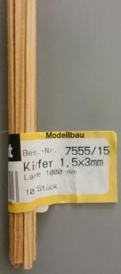 Kiefernleisten 1,5 x 3 mm, 1 m lang, 10 Stück