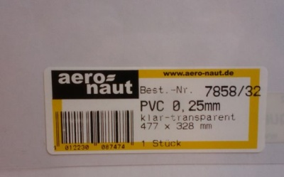 PVC klar-transparent, 477x328 mm, Stärke 0,25 mm