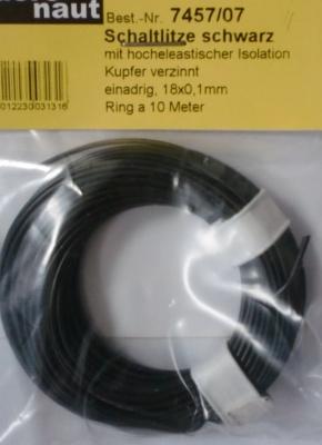 LITZE schwarz, 10 m, einadrig 24 x 0,1 mm