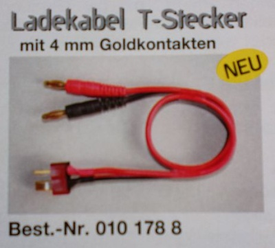 Ladekabel T-Stecker mit 4 mm Goldkontakten