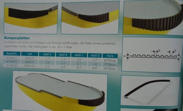 Gummi Bumperplatte 300 x 75mm mittel (VE1)