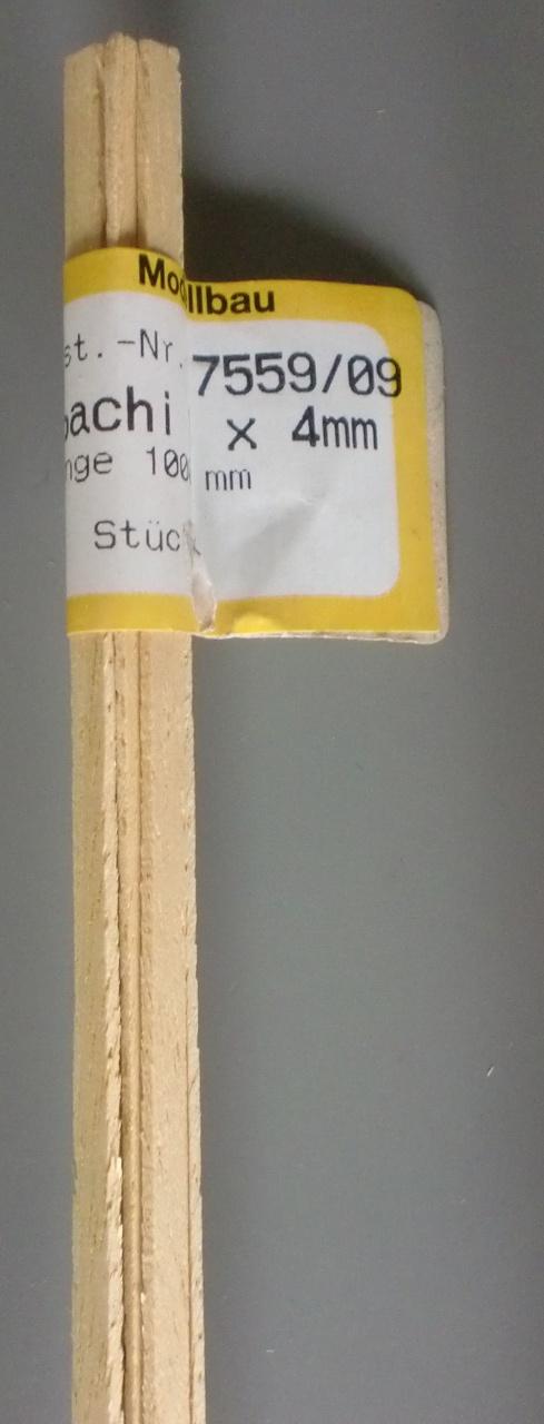 ABACHI-Vierkantleisten  1 x 4 mm, 1 m lang, 10 Stück