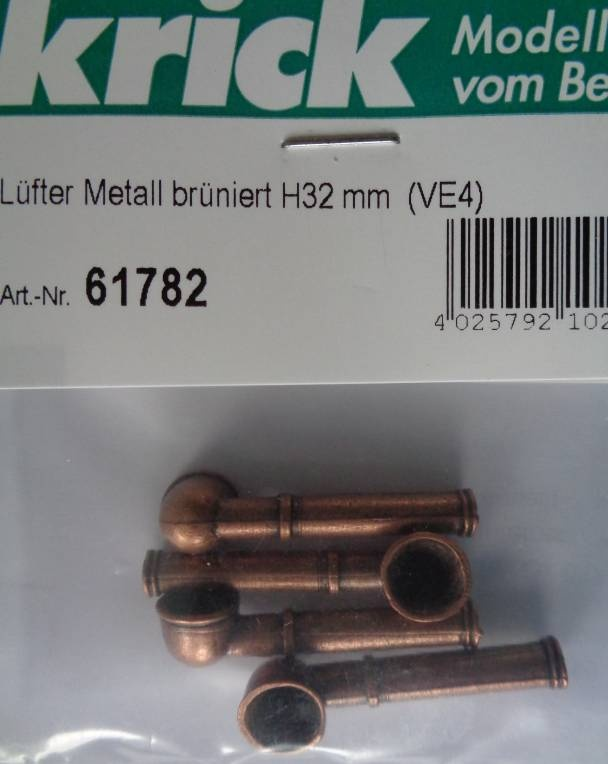 Lüfter Metall brüniert Höhe 32 mm, Ø-Öffn. 9 mm, 4 Stück