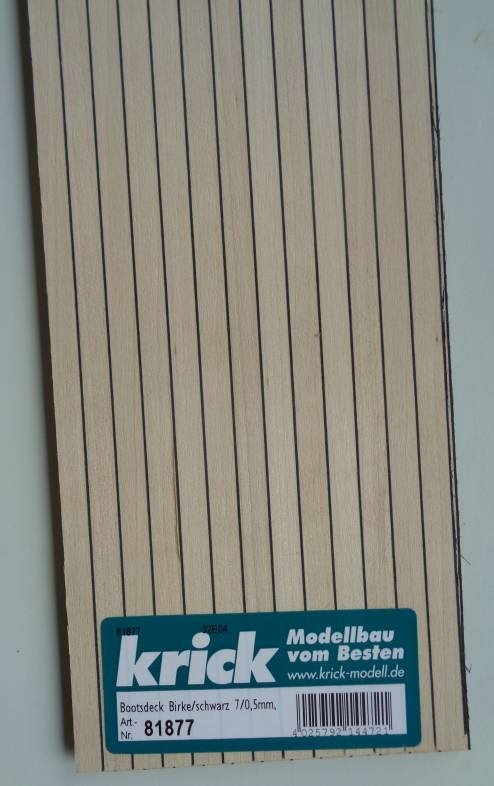 Bootsdeck Birke, Zwischensch. schwarz, Brettstärke 1,5 mm