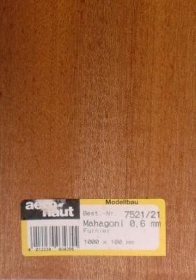 MAHAGONI-Furnier, 1000x100x0.6 mm, 10 Stück