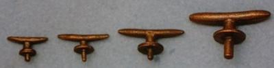 Bootsklampen, Metall brüniert 25 mm lang, 2 Stück