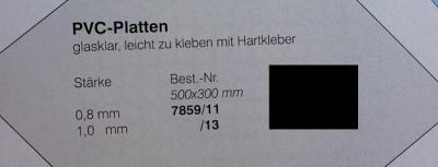 PVC-Platten, klar 500x400x0.8mm