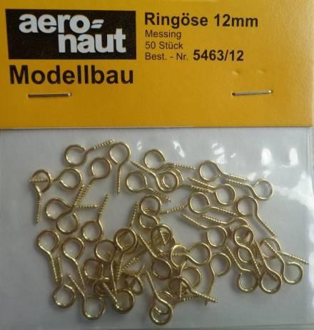 Ringösen, Messing 12 mm, 50 Stück