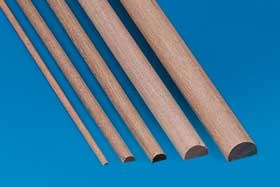 Halbrundstab Holz 1,5 x 3 mm, 1  m lang, 5 Stück