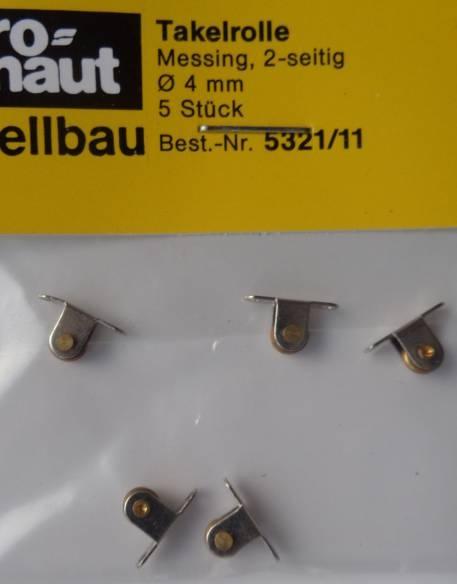 Takelrolle, metall vernickelt. L. 10 mm, B. 3 mm, H. 6 mm,