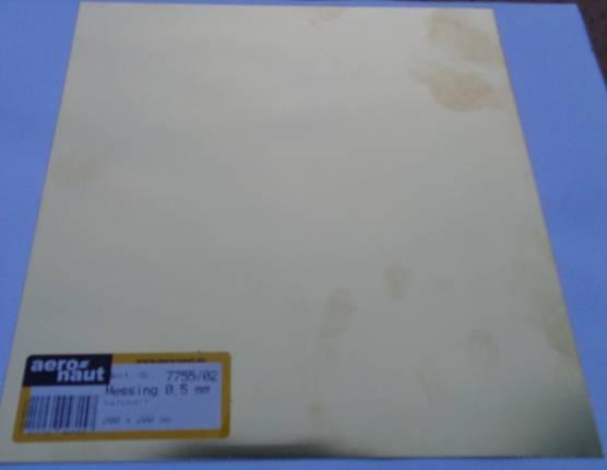Messing-Blech 200x200x0.5 mm, halbhart, blank