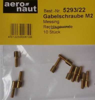Gabelschrauben, Messing M 2, Rechtsgewinde, 10 Stück