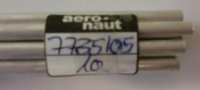 Alu-Rohr, halbhart nahtlos, außen 5 mm, innen 4,1 mm, 1m lg.