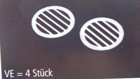 Lüftungsgitter rund Ø 12 mm, 4 Stück