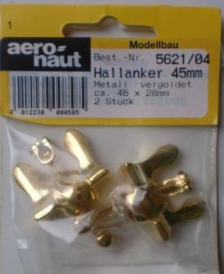 Hallanker, beweglich, metall, vergoldet, 45 mm