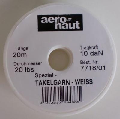 Takelgarn, weiß, Stärke 0.3 mm, Rolle 20 Meter