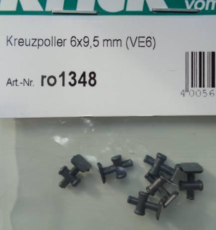Kreuzpoller 6 x 6 mm, 6 Stück