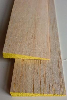 Balsa-Endleisten, gelb, 8 x 40 mm, 1 m lang