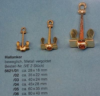Hallanker, beweglich, metall, vergoldet, 35 mm