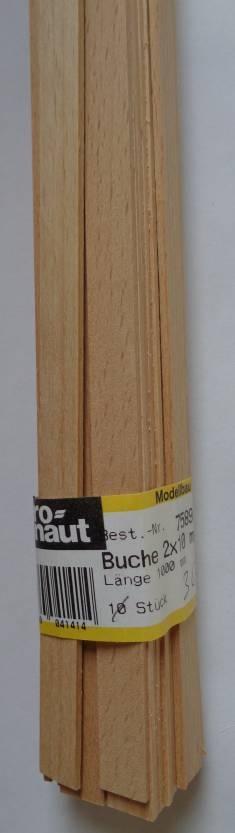 BUCHEN-Vierkantleisten  2 x 10 mm, 1 m lang, 10 Stück