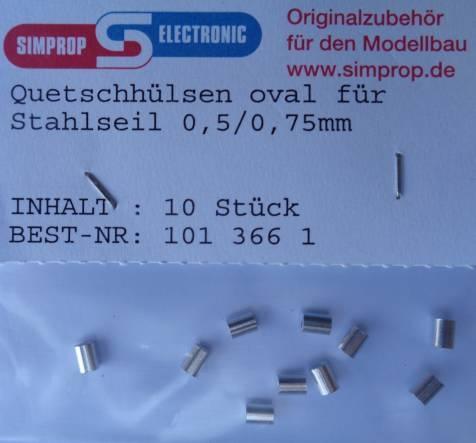 Quetschhülsen oval für Stahlseil 0,5/0,75 mm  -NEU-