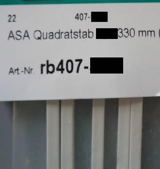ASA Quadratstäbe 1 x 1 x 330 mm, 5 Stück