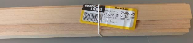 BUCHEN-Vierkantleisten  5 x 20 mm, 1 m lang, 10 Stück