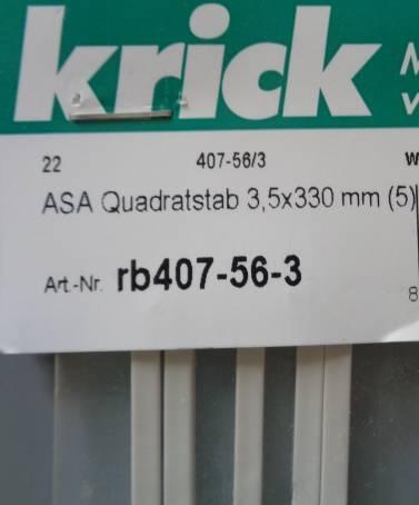 ASA Quadratstäbe 3,5 x 3,5 x 330 mm, 5 Stück