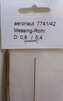 1 x Messing-ROHR 0,8/0,4mm,  1 m lang