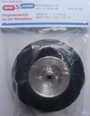 Moosgummirad mit Alufelge Ø 90 mm, f.Bremssyst.klein, 1 Stck