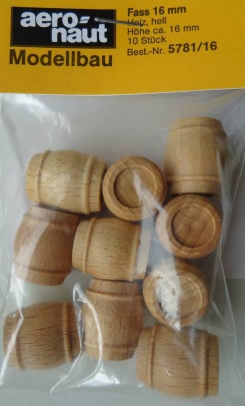 Fässer, Holz, hell, ca. 16 mm hoch, 10 Stück