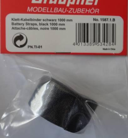 Klettband schwarz 1000 mm