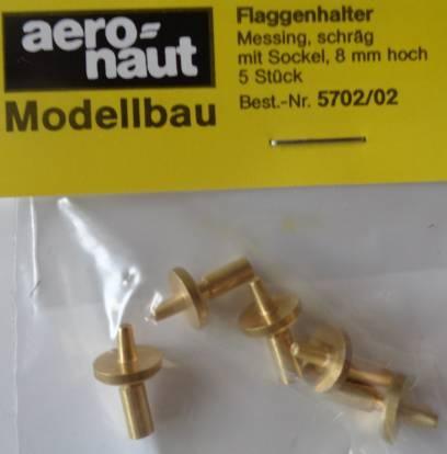 Flaggenhalter, messing, 8 mm hoch, 5 Stück