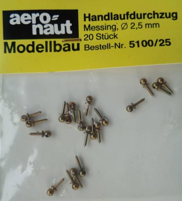 Handlaufstützen , messing, Durchm. 2,5mm, 20 Stück
