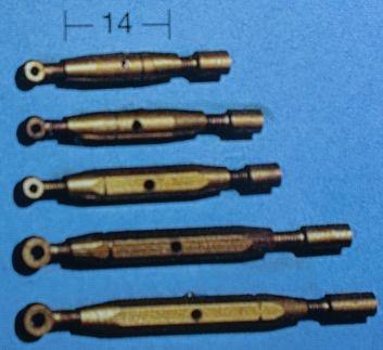 Spannschrauben (Messing) Ö/H 14 mm, 5 Stück