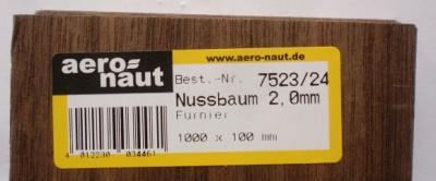 NUSSBAUM-Furnier 1000x100x2.0 mm, 1 Stück