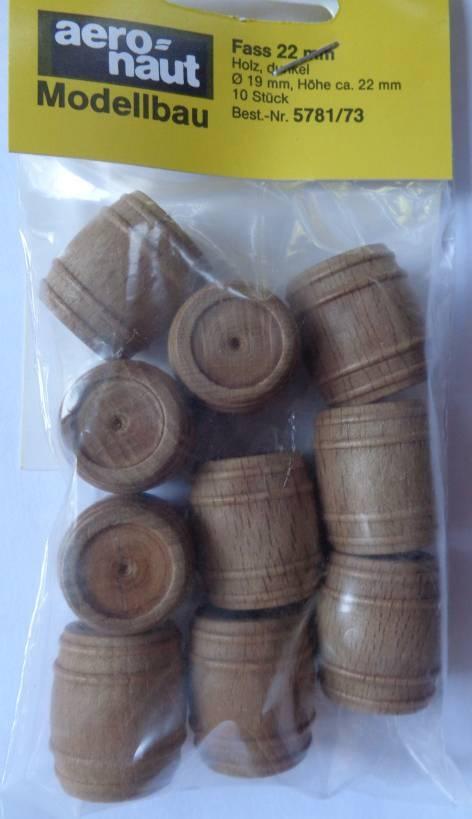 Fässer, Holz, dunkel, 23 mm hoch, 10 Stück