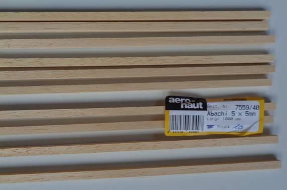 ABACHI-Vierkantleisten  0,6 x 7 mm, 1 m lang, 10 Stück