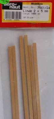 LINDE-Vierkantleisten  2 x 5 mm, 1 m lang, 10 Stück