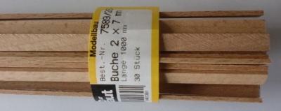 BUCHEN-Vierkantleisten  2 x 7 mm, 1 m lang, 10 Stück