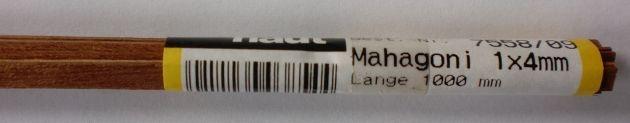 MAHAGONI-Vierkantleisten   1 x 4 mm, 1 m lang, 10 Stück